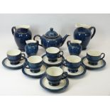 DENBY STONEWARE TEASET, 17 PIECES - teapot and cover, two large and two small jugs, six cups, six