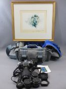 PENTAX MX SLR CAMERA, additional lenses and filters in canvas bag and a framed DAVID SHEPHERD