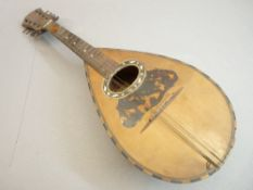 VINTAGE LUTE WITH TORTOISE SHELL DECORATION, 60cms L