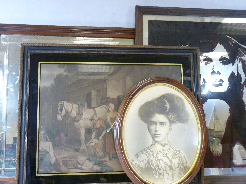 ANTIQUE COACHING TYPE PRINTS, 38 x 50cms, a pop art style mirror, old portrait print and a vintage - Image 2 of 8
