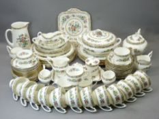 COALPORT MING ROSE TEA & DINNERWARE - approximately 90 pieces including teapot with lid, tureen