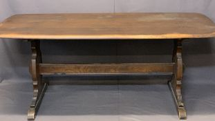 ERCOL OAK REFECTORY STYLE DINING TABLE - on pegged supports, 72cms H, 180cms L, 79.5cms W