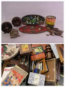 MARBLES - a good assortment including a vintage biscuit tin. Old coinage and a vintage custard
