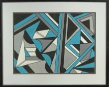 SHAN ECCLES (Emerging Deganwy Artist) - Colourful geometric acrylic abstract study with blue