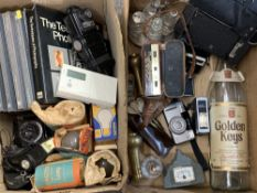 VINTAGE & LATER CAMERAS & EQUIPMENT, associated books, EPNS and brassware, ETC (2 boxes)