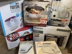 HOUSEHOLD ELECTRICALS BOXED & APPARENTLY UNUSED, 7 ITEMS - a Silver Crest mini oven, thermal based