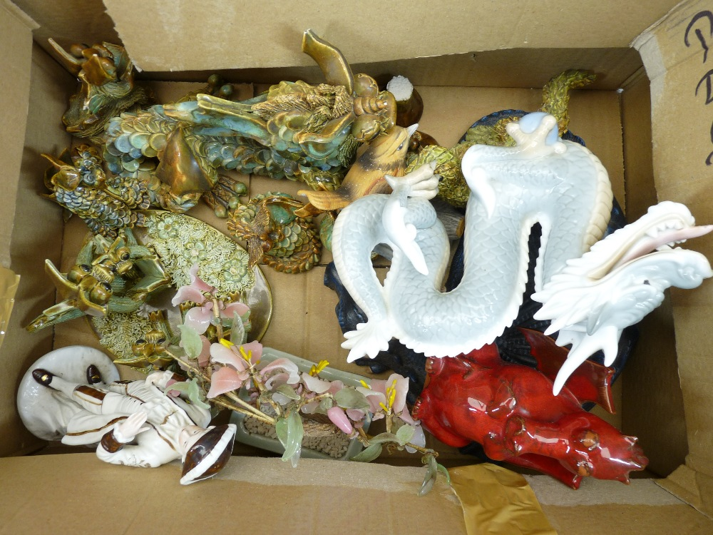 FANTASY DRAGON & FAIRY FIGURINES, decorative animals and birds, a mixed collection (in 3 boxes) - Image 4 of 6