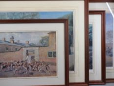 ELIZABETH SCRIVENER hunting hound limited edition prints (3) and one other by PETER BIRGEL? - 'A