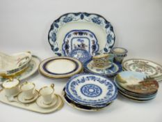 DECORATIVE WALL PLATES, BAVARIAN 'COFFEE FOR TWO' SET, Booths Willow and other Blue & White ware,