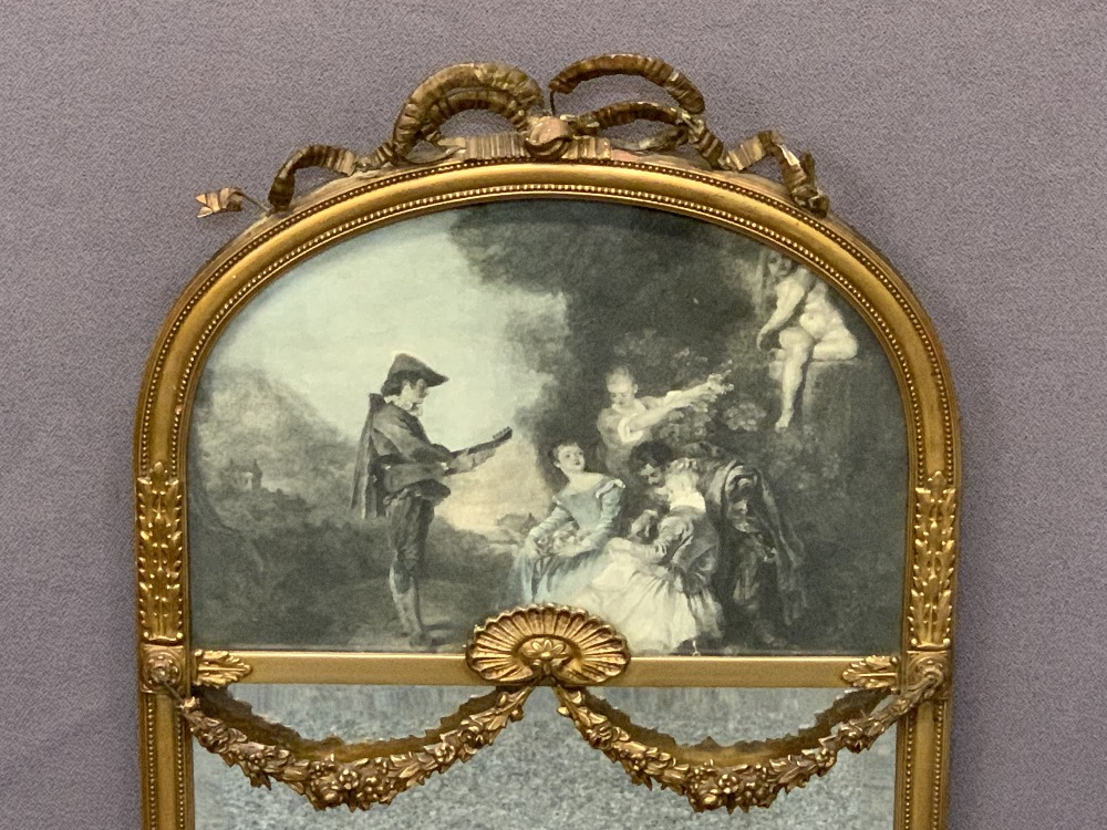 VINTAGE PIER TYPE MIRROR - the curved top with inset classical scene print, applied crest ribbon and - Image 2 of 4