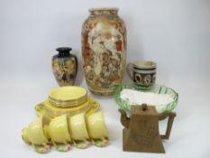 MIXED ENGLISH & ORIENTAL DECORATIVE VASES & TEAWARE, ETC - to include Japanese Satsuma vases,