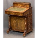 REPRODUCTION MAHOGANY DAVENPORT - a hinged brass gallery top opening to reveal a sectional