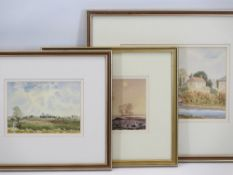 DEREK BUCKINGHAM watercolours, a pair - 'Ely Cathedral' and 'A Ploughed Field', both 12 x 17cms