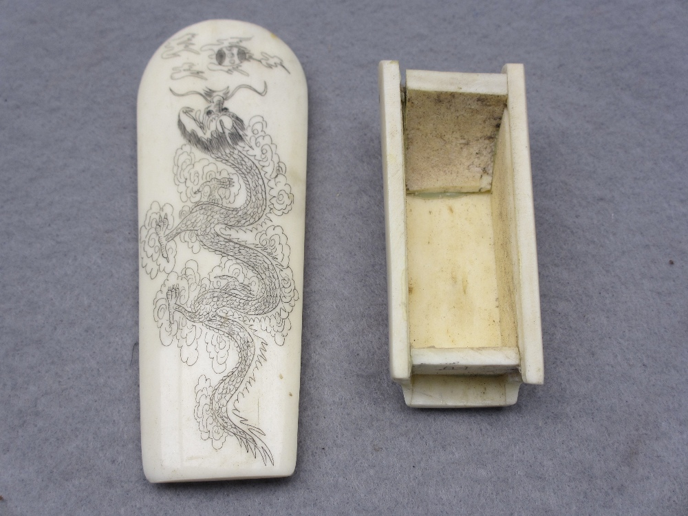 JAPANESE & OTHER IVORY & BONE OKIMONO, FOUR ITEMS - a standing sectional figurine of a Geisha girl - Image 5 of 5