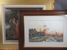 ELLEN JOWETT print and one other - classically styled scene of children dancing, signed lower