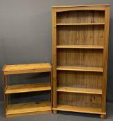 PINE BOOKCASES (2) - 187cms H, 93cms W, 36cms D and 85cms H, 82cms W, 34cms D