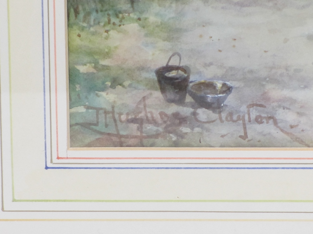 J HUGHES CLAYTON watercolour - thatched cottage with woman in the garden, signed lower left, 28 x - Image 2 of 2