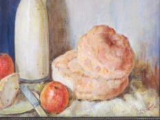 EMILY LEICESTER oil on board - still life, early 20th Century, 32.5 x 42cms