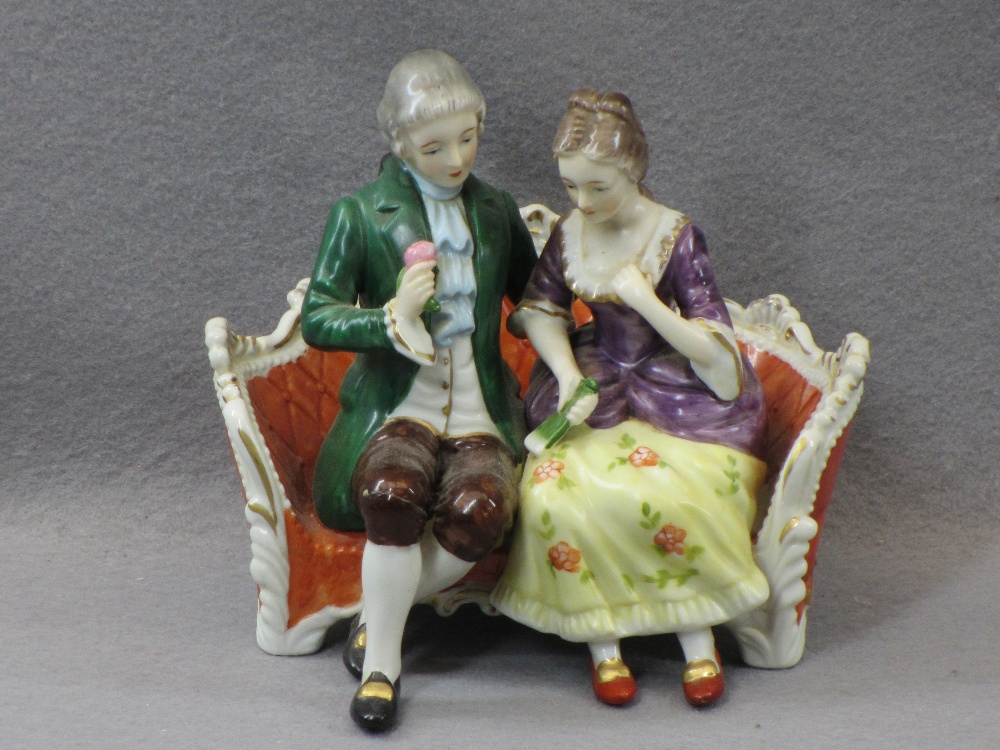 PORCELAIN & COMPOSITION CABINET FIGURINES, A COLLECTION including a Sitzendorf group of young man - Image 4 of 7