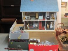 MINIATURES/COLLECTOR'S DOLLS HOUSE & EXTENSIVE CONTENTS - on single drawer wooden stand, 63 x 69 x