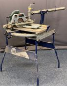 BOSCH ELECTRIC CHOP SAW WITH TABLE BENCH - 124cms overall H, 124cms max L, 77cms W, E/T