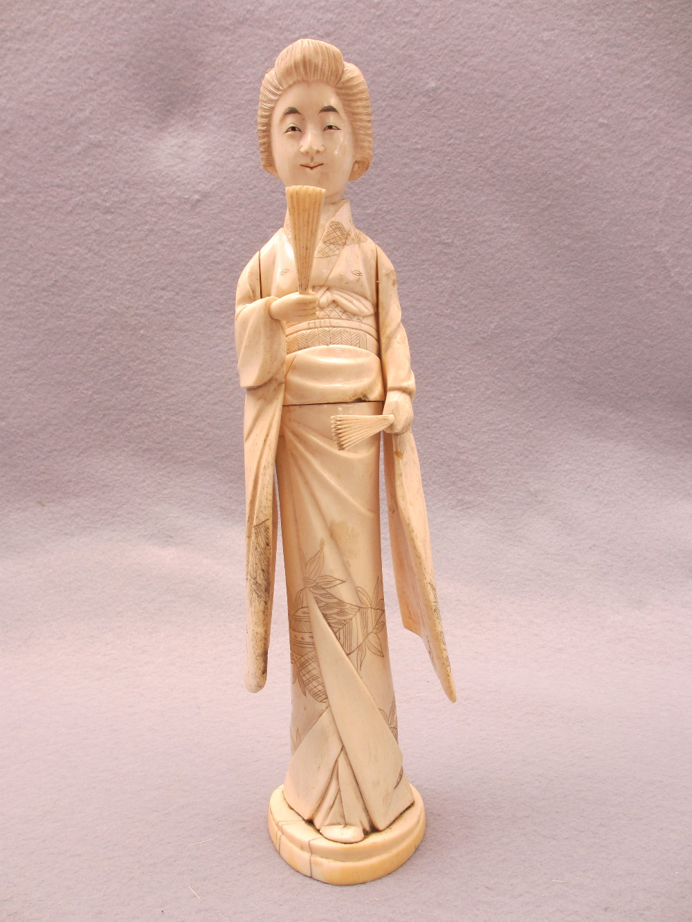 JAPANESE & OTHER IVORY & BONE OKIMONO, FOUR ITEMS - a standing sectional figurine of a Geisha girl - Image 3 of 5