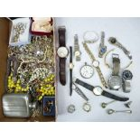 VINTAGE & LATER COSTUME JEWELLERY, lady's and gent's wristwatches and other collectables including a