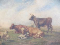 ENGLISH SCHOOL oil on panel - Spring scene of livestock with their young with further livestock