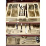 SBS MODERN TABLE CANTEEN OF STAINLESS STEEL CUTLERY - 80 plus pieces with gilt edge banding in a