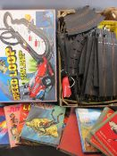 VINTAGE SCALEXTRIC, BOXED SIMILAR and a quantity of children's Annuals and books