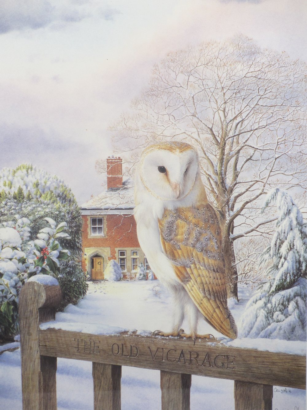 COLIN WOOLF limited edition and other framed prints (3) - a barn owl standing on the gate of the Old - Image 2 of 6
