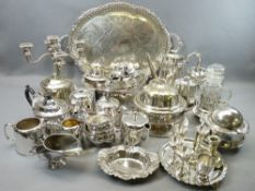 LARGE MIXED QUANTITY OF EP WARE - including three piece tea sets, swing handle pedestal bread