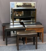 MODERN BOX SEAT & OTHER PIANO STOOLS (6) and an ultra-modern large sized wall mirror, 129.5cms H,