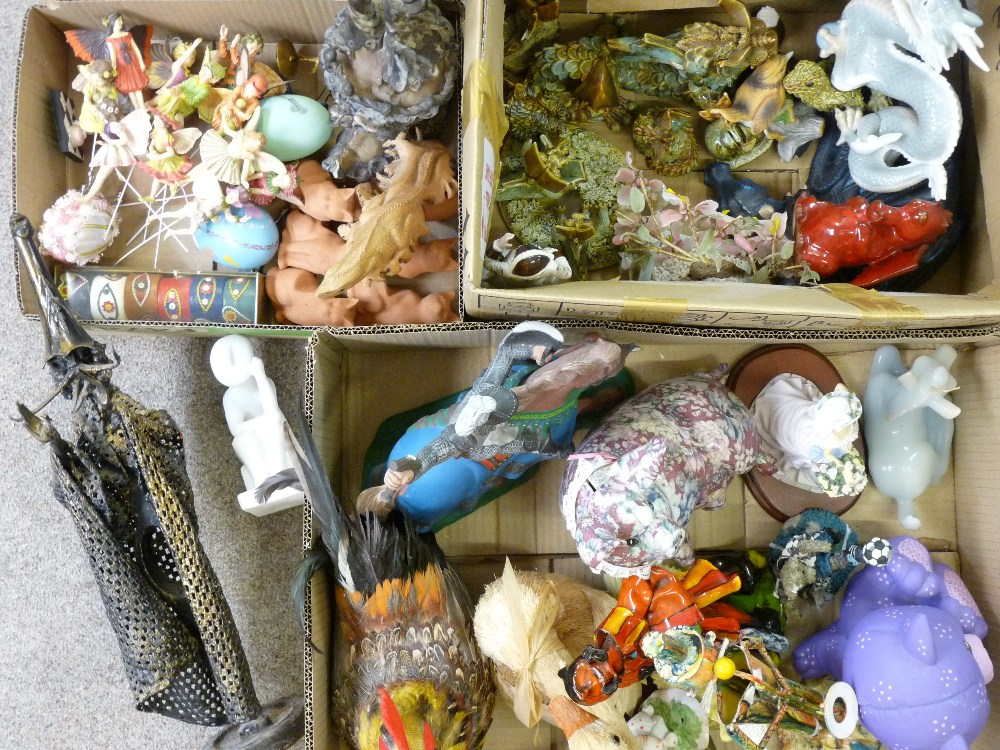 FANTASY DRAGON & FAIRY FIGURINES, decorative animals and birds, a mixed collection (in 3 boxes)