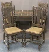 OAK BARLEY TWIST DRAW LEAF DINING TABLE & FOUR CHAIRS - with carved crest rails and back splats,