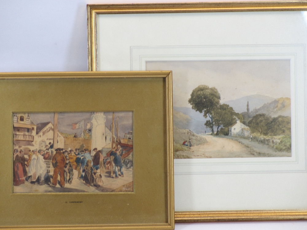 AFTER LUCIEN SIMON watercolour - entitled 'Le Campement', 13 x 19cms and a mid-19th Century