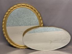 DECORATIVE OVAL WALL MIRRORS (2) - to include an open frame example with facet bevelled edge, 65.5 x