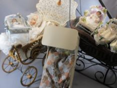 DANBURY MINT PORCELAIN HEAD DOLL 'A CHRISTENING' - in wicker type pram along with further smaller