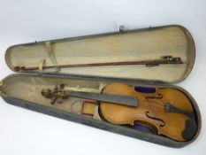 CASED VINTAGE VIOLIN WITH TWO BOWS