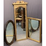 VINTAGE WALL MIRRORS (3) - to include a tall gilt example with carved crest and bevelled edging to