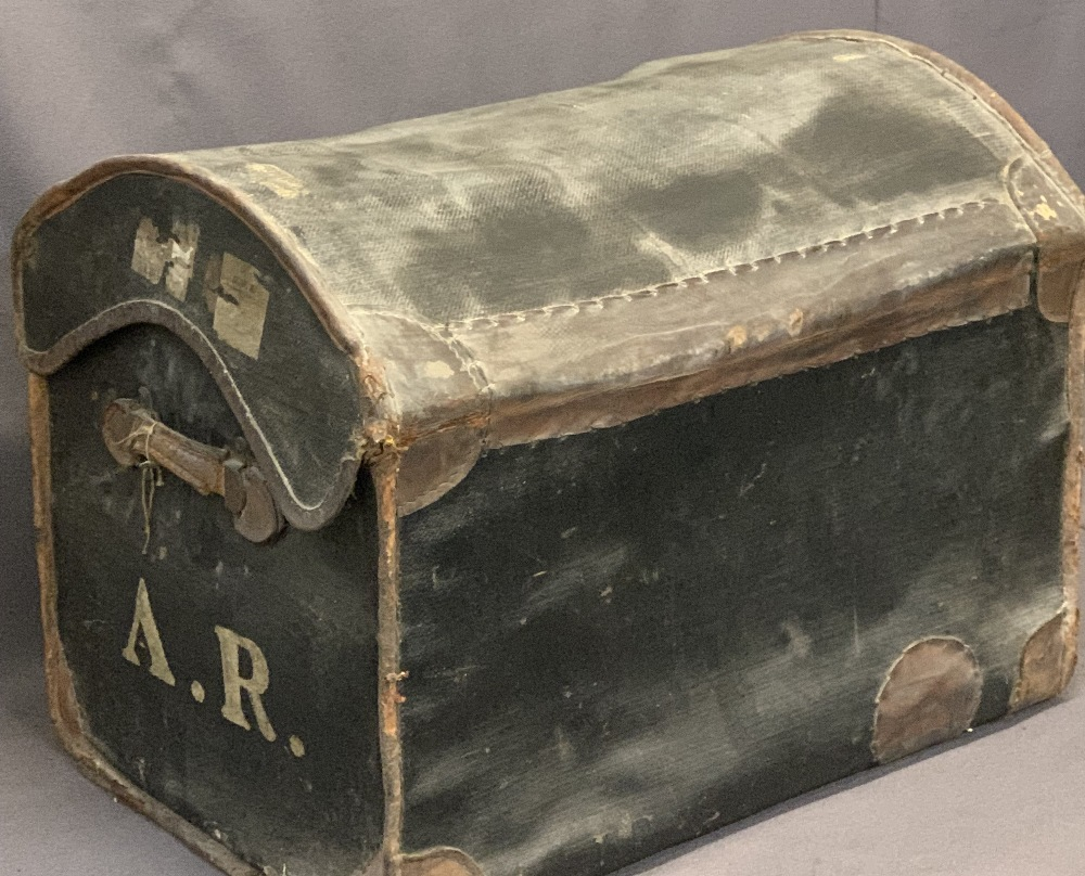 VINTAGE STEAMER TRUNK and two items of occasional furniture, the dome top trunk in mixed leather and - Image 3 of 3