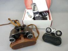BOXED NEC MOBILE PHONE with instruction booklet, vintage binoculars and a pair of aluminium opera