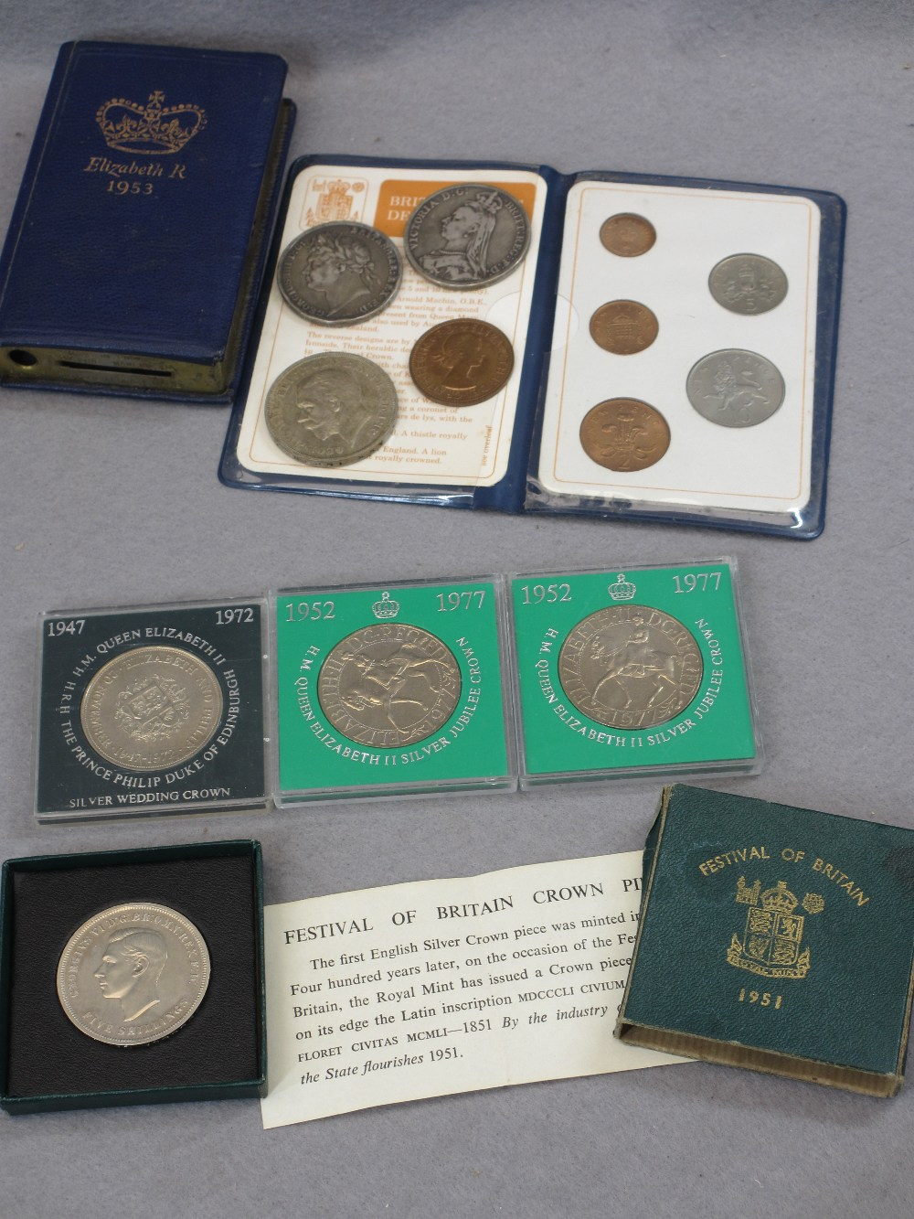 GEORGE IV 1821 & VICTORIA 1889 WITH OTHER COLLECTABLE CROWNS, Britain's first decimal coins - Image 3 of 3