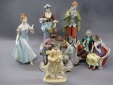 PORCELAIN & COMPOSITION CABINET FIGURINES, A COLLECTION including a Sitzendorf group of young man