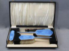CASED HAND MIRROR, BRUSH & COMB DRESSING TABLE SET - Birmingham 1937, Maker W G Sothers Ltd having