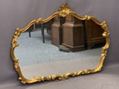 ROCOCO STYLE GILT FRAMED OVERMANTEL MIRROR - the shaped frame with shell type crest, 90cms H, 122cms