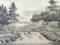 JAPANESE PAINTINGS ON SILK (2) showing dwellings beside a lake and river with snow- capped Mount