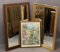 MODERN WALL MIRRORS (2) and a vintage print titled 'The Broad and Narrow Way', 100 x 69cms, 95 x