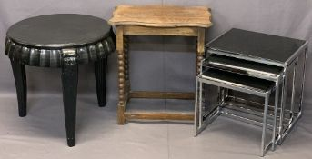 VINTAGE & ULTRA MODERN OCCASIONAL TABLES to include a set of three chrome and black glass, 50cms