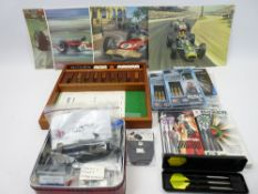 DARTS, DICE GAME, MOTOR RACING PRINTS COLLECTION - 'As New' darts sets include Power Vault by Target